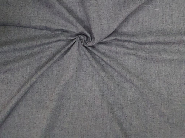 Precut 2.5 Metres Stormy Gray Yarn Dyed Plain Cotton Fabric