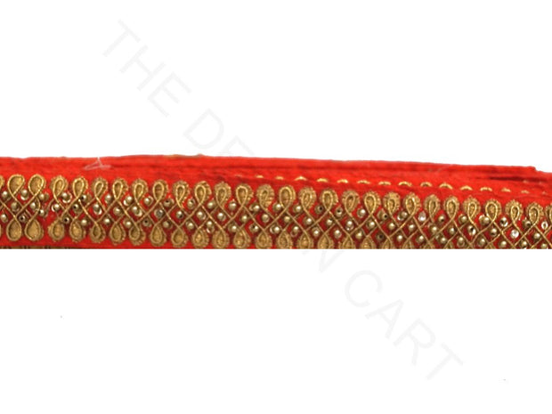 Red Pearl Work and Zari Work Embroidered Border | The Design Cart