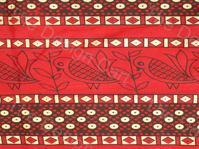 Red Brown Sparrow Design Pure Cotton Fabric
