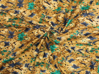 Green Golden Garden Design Pure Cotton Fabric