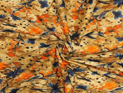 Orange Golden Garden Design Pure Cotton Fabric