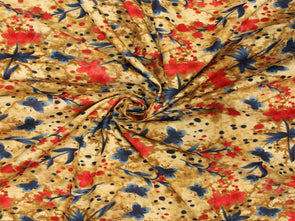 Red Golden Garden Design Pure Cotton Fabric