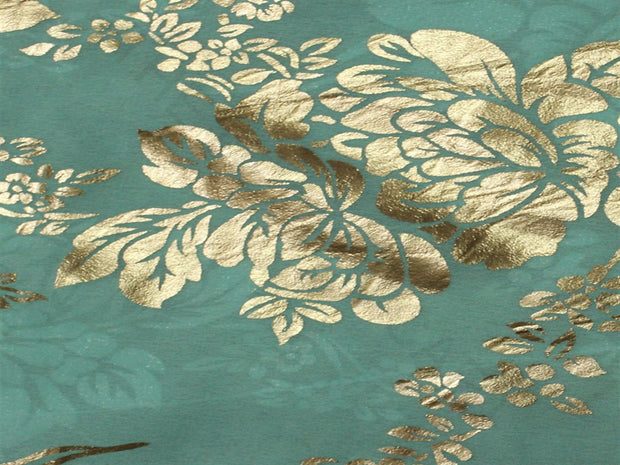 Blue Floral Foil Print Georgette Fabric | The Design Cart