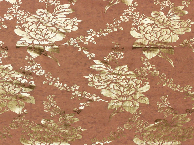 Coral Floral Foil Print Georgette Fabric | The Design Cart