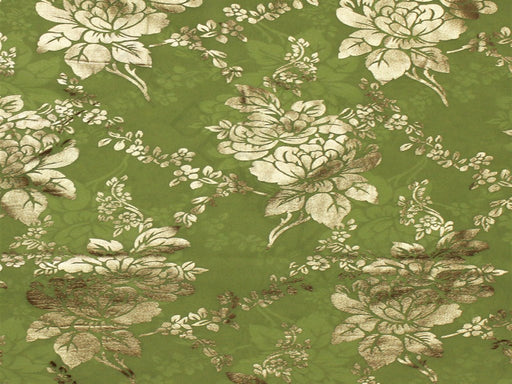 Green Floral Foil Print Georgette Fabric