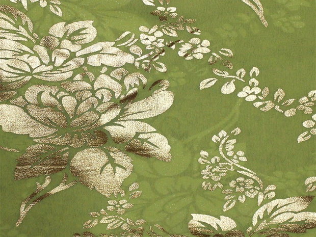 Green Floral Foil Print Georgette Fabric | The Design Cart