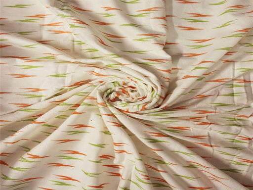 Orange Green Printed Cotton Flex Fabric