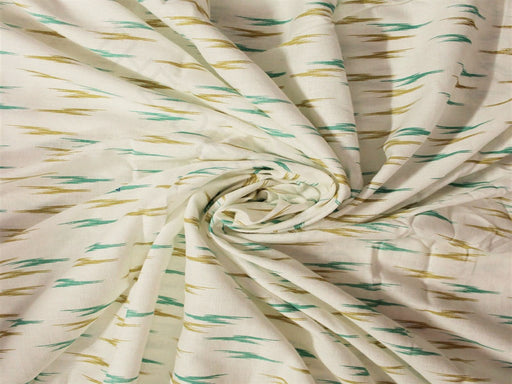 White Green Printed Cotton Flex Fabric