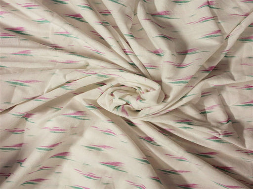 White Pink Green Faded Printed Cotton Flex Fabric