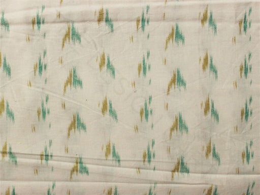 White Green Faded Printed Cotton Flex Fabric