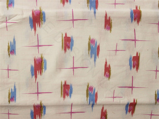 White Red Blue Abstract Printed Cotton Flex Fabric