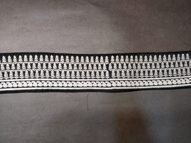 Black White Thread Work Embroidered Lace Border