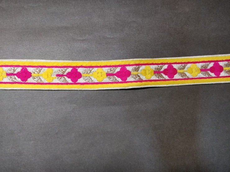 Yellow Pink Thread Work Lace Border