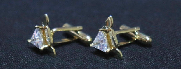 Golden Crystal Studded Triangular Metallic Cufflinks (4421328011333)