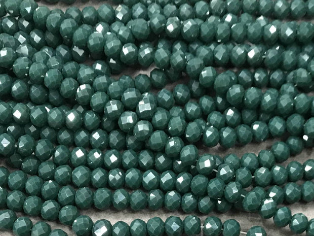 Dark Green Opaque Rondelle / Tyre Glass Crystal Beads- 6 mm