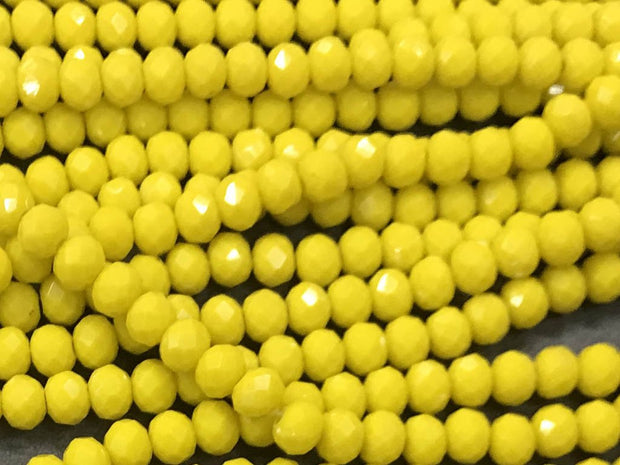 Deep Yellow Opaque Rondelle / Tyre Glass Crystal Beads- 6 mm