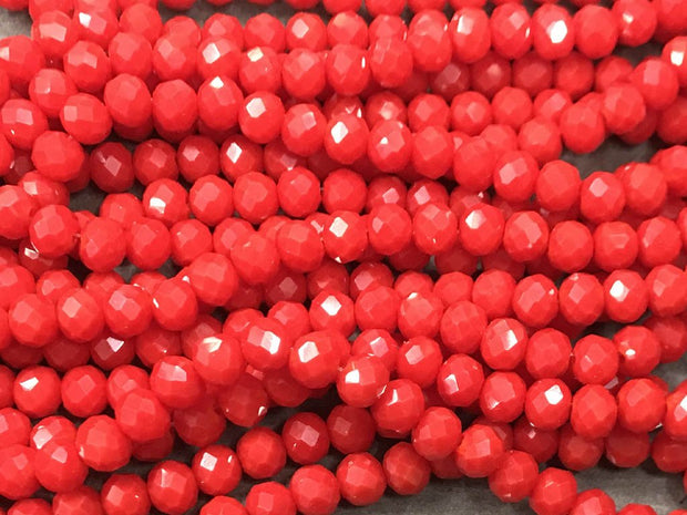Dark Red Opaque Rondelle / Tyre Glass Crystal Beads- 6 mm