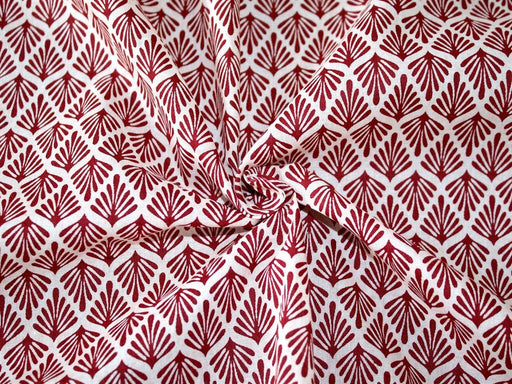 White Maroon Leaves Design Cotton Fabric