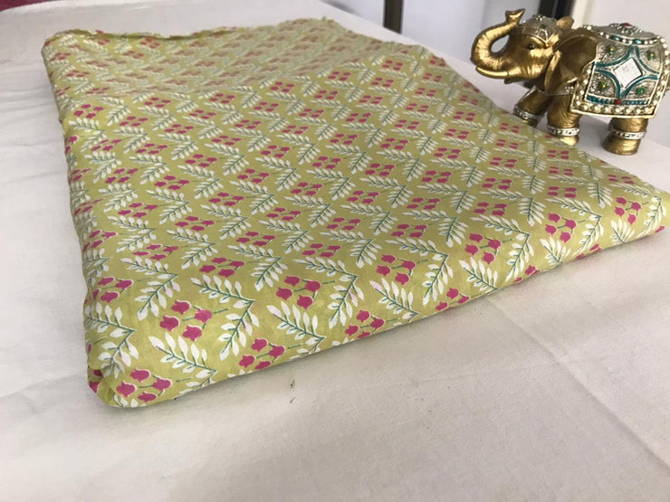Green Floral Hand Screen Printed Muslin Viscose Silk Fabric
