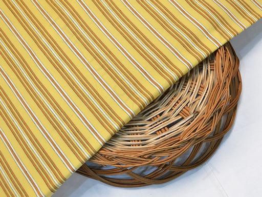 Yellow Brown Stripes Rayon Fabric