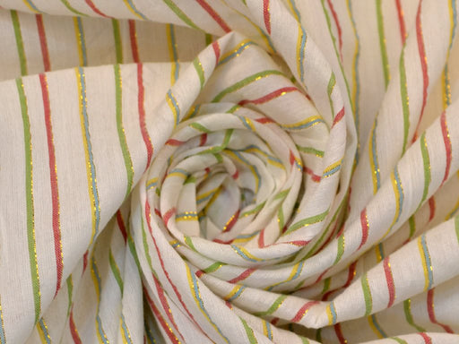 White Green Lurex Stripes Cotton Crepe Fabric