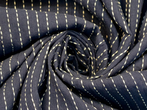 Navy Blue White Stripes Cotton Crepe Fabric