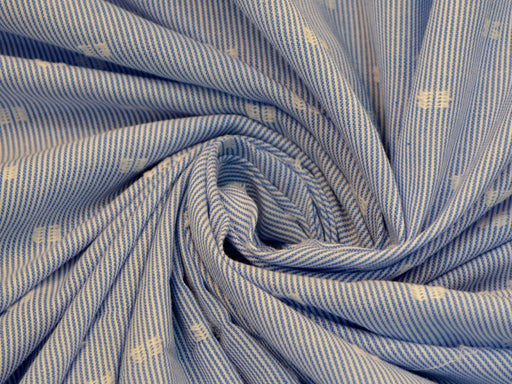 Blue White Thread Work Stripes Cotton Fabric
