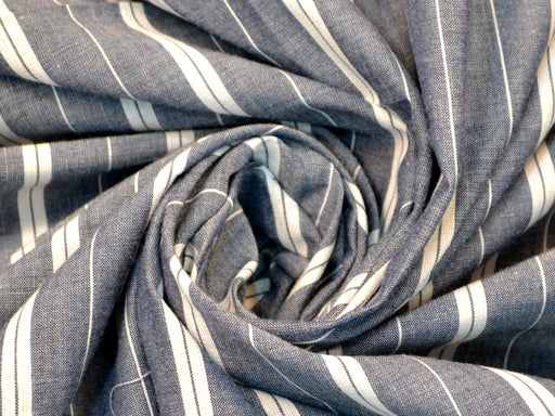 Dark Gray White Stripes Cotton Fabric