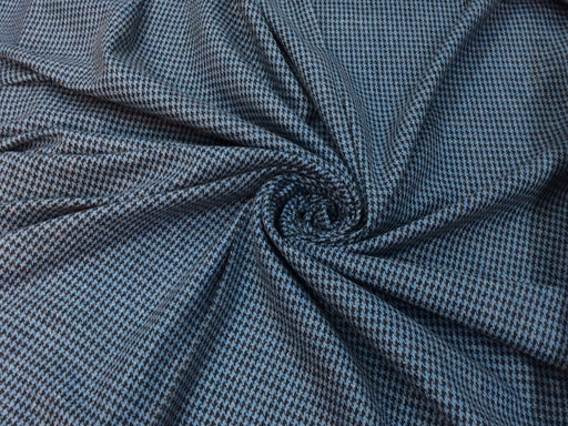 Blue Black Houndstooth Weave Wool Fabric