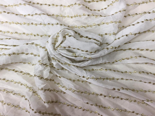 White Stripes Chiffon Fabric