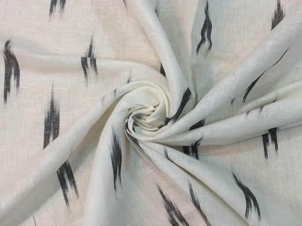 White Black Abstract Handloom Cotton Linen Ikat Fabric