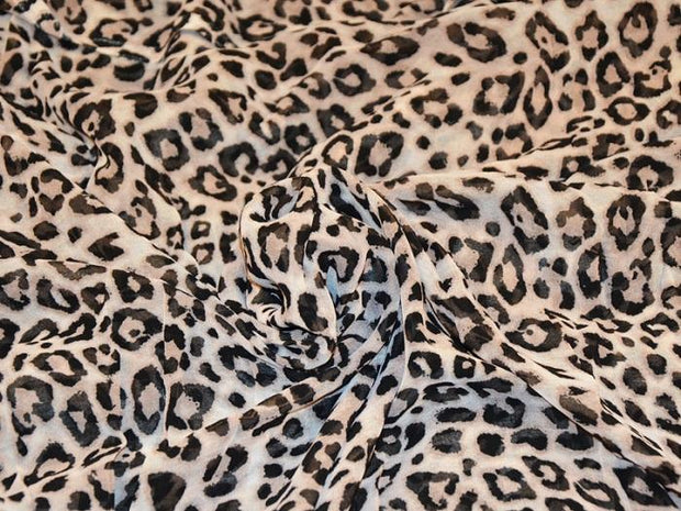 Leopard Digital Printed Georgette Fabric (4550542721093)