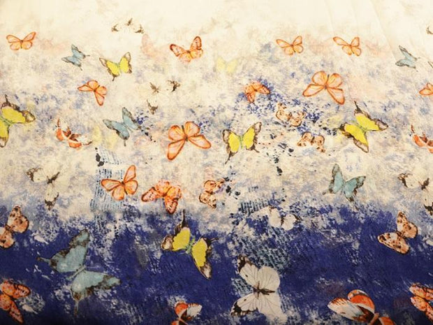White Blue Butterflies Digital Printed Georgette Fabric (4550470860869)