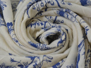 White Blue Flowers Digital Printed Crinkled Viscose Crepe Fabric