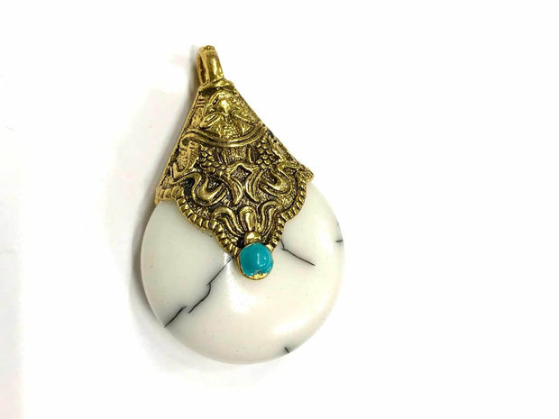 White Circular Stone Pendant with Designer Golden Cap (42x27 mm)