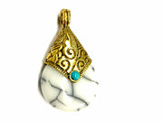 White Circular Stone Pendant with Golden Cap