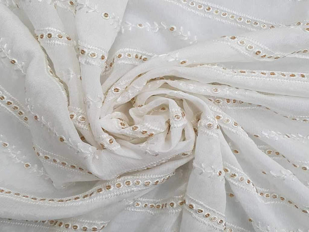 White Stripes Embroidered Chinon Chiffon Fabric | The Design Cart