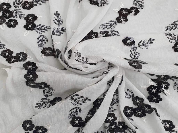 White Black Floral Embroidered Chinon Chiffon Fabric | The Design Cart