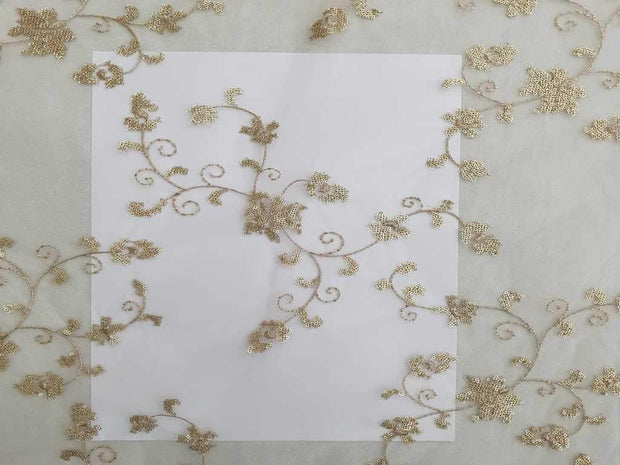 White Embroidered Chinon Chiffon Fabric | The Design Cart (4365417250885)