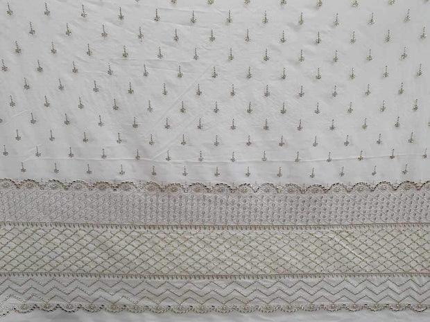 White Motifs with Border Embroidered Georgette Fabric | The Design Cart