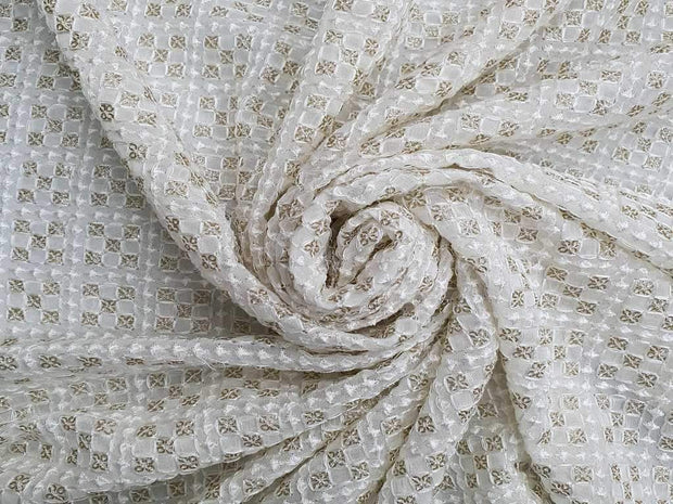 White Geometric Floral Embroidered Georgette Fabric | The Design Cart