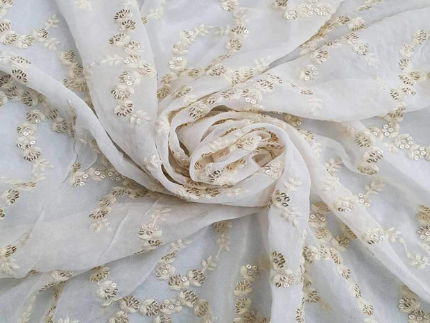 White Flowers Embroidered on Georgette Fabric | The Design Cart