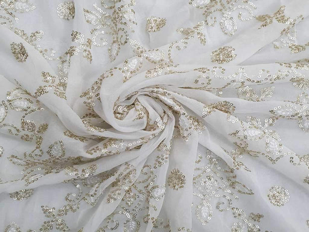 White Sequins Flowers Embroidered Georgette Fabric | The Design Cart