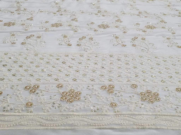 White Embroidered Georgette Fabric | The Design Cart