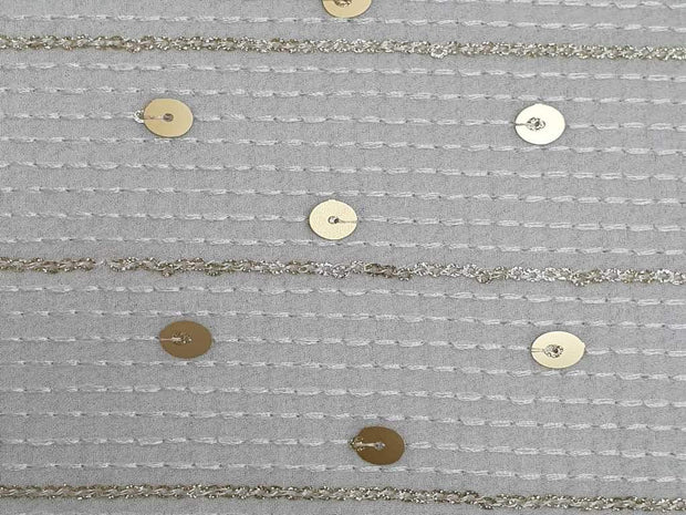 White Sequins Polka Dots Embroidered Georgette Fabric | The Design Cart