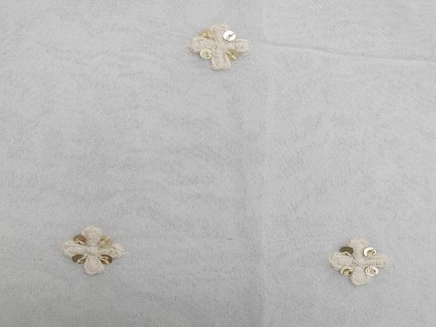 White Golden Floral Motifs Embroidered Georgette Fabric | The Design Cart