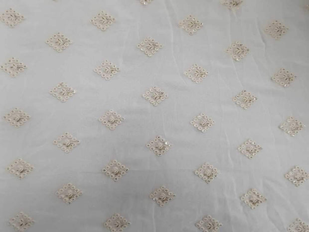 White Geometric Motifs Embroidered Georgette Fabric | The Design Cart