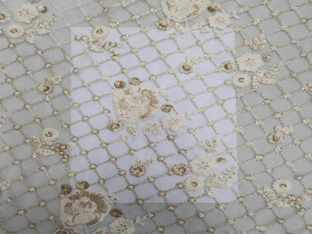 White Floral Geometric Embroidered Net Fabric | The Design Cart
