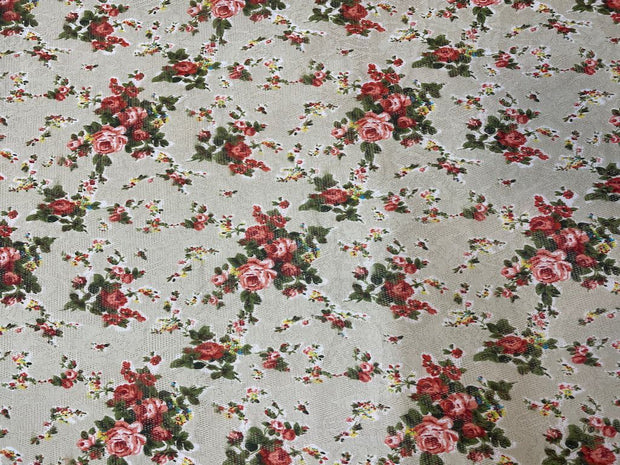 White Floral Cutwork Printed Scuba Lycra Fabric