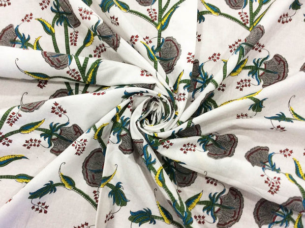 White Gray Flowers Block Printed Cotton Fabric